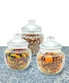 Another great find on #zulily! Three-Piece Scalloped Glass Canister & Lid Set #zulilyfinds
