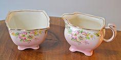 Creamer And Sugar Bowl, Royal Winton Grimwades, Apple Blossom Pink Pink Patterns, Cream And Sugar, Sugar Bowl, Gifts For Mom, My Etsy Shop, Apple, Gold, Handmade, Stuff To Buy