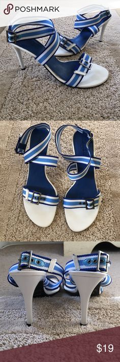 Glamour Original Sexy and Fun Blue and White Striped Heels. Roughly 3 1/2 inches with wrap around ankle strap with silver buckle. Man made material and only worn once. Very comfortable and true to size. Comes with extra heel tip replacement. Glamour Original Shoes Heels