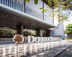 Hilton Sukhumvit 24 & Double Tree Hotel Landscape Design by P Landscape Hotel Signage, Entrance Signage, Entrance Design, Wayfinding Signage, Signage Design, Facade Design, Porte Cochere, Landscape Architecture, Landscape Design