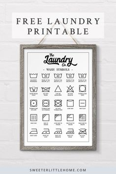 Check out this free printable laundry symbols wall art designed to fit in perfectly with farmhouse d