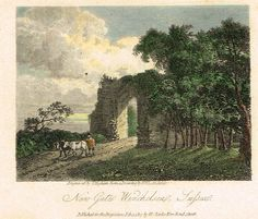 "Misc. Miniature Scenes - ""NEW GATE WINCHELSEA, SUSSEX"" - Colored Engraving - 1817"