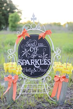 sparkler send off station ideas http://www.weddingchicks.com/2013/08/20/button-wedding-inspiration/
