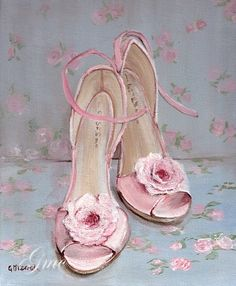 Ready to Frame Print - Dancing Shoes - Postage is included Worldwide Kitsch, Decoupage Paper, Shoe Art, Painted Shoes, Vintage Couture, Belle Photo, Vintage Images, Girly Things, Pretty In Pink