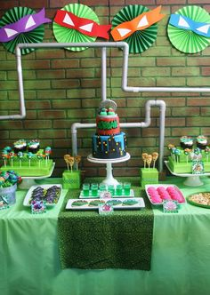 Teenage Mutant Ninja Turtles Party with Lots of Really Cool Ideas via Kara's Party Ideas: The Background The Best Kids Birthday Party Ideas -- Popular Themes- Pinspiration by Frosted Events Turtle Birthday Parties, Ninja Birthday, Birthday Ideas, Birthday Decorations, Turtle Decorations, Monster High Birthday, Monster High Party, Hanging Decorations, 15th Birthday