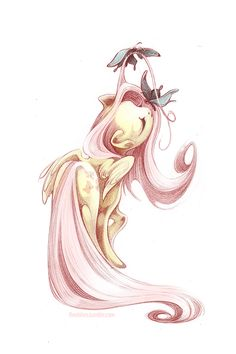 Fluttershy's mane and tail are so much fun to draw :)  This drawing was originally done in pencil and coloured in Photoshop. It is printed on 11x17 matte cardstock.