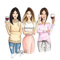 Cocktail Girl Illustration Art ~H. Best Friend Drawings, Bff Drawings, Fashion Art, Girl Fashion, Fashion Design, Fashion Prints, Girly, Art And Illustration, Best Friends Forever