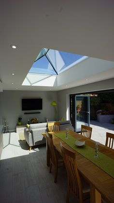 Secured by design roof lantern, frameless, low pitch. Glass to glass roof lantern rooflight and skylights for flat roof applications. Glass Extension, Roof Extension, Extension Ideas, Low Pitch, Roof Lantern, Laminated Glass, Roof Light, Glass Roof, Glass Kitchen