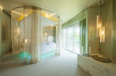 "Romantic Suite ""Blütenschloss"" Oriental Style, Oriental Fashion, Das Hotel, Curtains, Room, Romantic, Furniture, Home Decor, Open Fireplace"