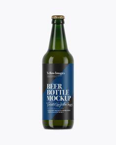 Green Glass Lager Beer Bottle Mockup