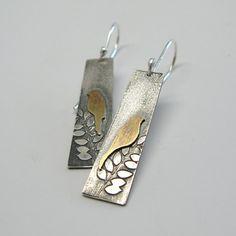 Vögel in einem Baum Sterling und Ohrringe von janiceartjewelry