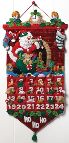 BUCILLA-Felt Home Decor Kit. Bucilla always has the highest quality, most brightly colored and creative designs for their fabulous Christmas Applique Kits. This kit contains stamped felts, cotton flos