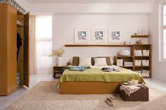 Bedroom Furniture Set - King Size Bed, 2 x Shelving Unit, 2 x Wall Shelves Alder