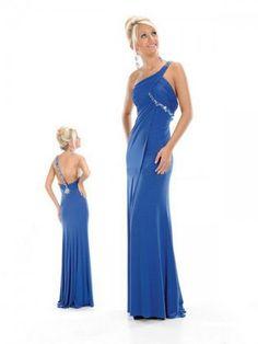 2012  Style Sheath / Column One Shoulder Rhinestone Sleeveless Floor-length Chiffon Royal Blue Prom Dress / Evening Dress (SZ0253024 )
