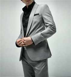 Love this look - grey suit, black shirt, no tie. | Fashion ...