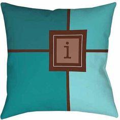 Thumbprintz Grid Monogram Teal Decorative Pillows, Blue