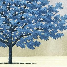 Original Hajime Namiki - ) Japanese Woodblock Print Blue Tree, this. Japanese Painting, Japanese Prints, Art Asiatique, Japan Art, Woodblock Print, Tree Art, Art Decor, Art Gallery, Nature