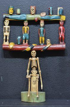 "Guatemala folk art candle holder  by Jose Crum. 24"" x 16""   ref: eBay"