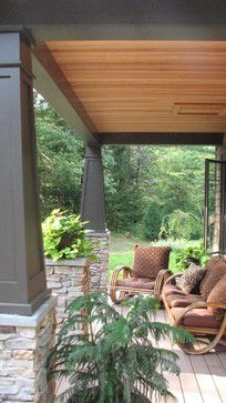 Front porch columns and stacked rock. I want to do this for my pool house! Front Porch Addition, Front Porch Columns, Porch Pillars, House Columns, Front Porches, Front Entry, Craftsman Style Porch, Craftsman Columns, Craftsman Exterior