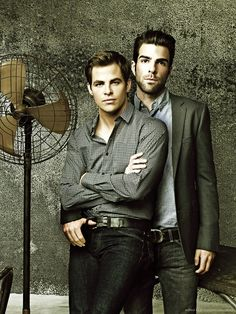 Captain Kirk and Spock. Zachary Quinto & Chris Pine