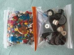 Use fabric or ribbon to bind together zipper bags for storage/organization of the little toy parts, craft supplies, etc.