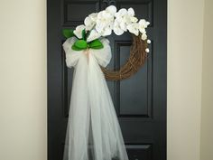 spring summer wreaths wedding door decorations by aniamelisa Wedding Door Decorations, Wedding Wreaths, Bridal Shower Decorations, Valentine Decorations, Wedding Themes, Wedding Doors, Lily Wedding, Wedding Ceremony Flowers, White Orchids