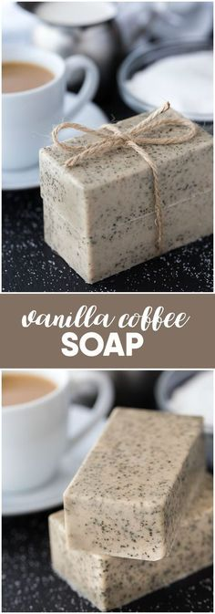 Vanilla Coffee Soap - Keep your coffee grounds from your morning coffee and whip up a batch of this lovely soap! Vanilla Coffee Soap - Keep your coffee grounds from your morning coffee and whip up a batch of this lovely soap! Diy Beauté, Diy Spa, Fun Diy, Coffee Soap, Coffee Coffee, Coffee Break, Coffee Menu, Homemade Soap Recipes, Homemade Paint