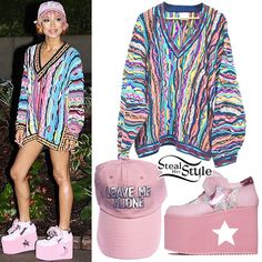 "Jhené Aiko performed at Snoop Dogg and Wiz Khalifa's ""The High Road Tour"" in Boston yesterday wearing a vintage Coogi Australia sweater (not available online), the The Cobra Snake Leave Me Alone Hat ($30.00), and Y.R.U. x Sanrio Little Twin Stars Qozmo Lo Shoes ($130.00)."