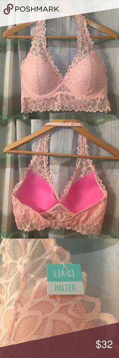 132fcb2d3a4 PINK Victoria s Secret Lace Halter Bralette Features  floral lace