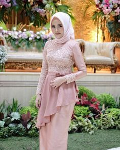 Inspired by . Dress Brokat Muslim, Gaun Dress, Kebaya Dress, Dress Pesta, Muslim Dress, Kebaya Wedding, Muslimah Wedding Dress, Dress Muslimah, Kebaya Modern Dress