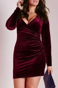 Attractive V-Neck Long Sleeve Solid Color Bodycon Mini Velvet Dress For Women Plus Size Dresses | RoseGal.com Mobile