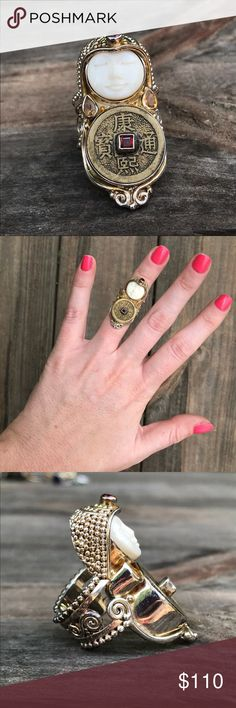 Chinese Coin and Cow Bone Knuckle Ring Ornate knuckle ring with cow bone face and authentic Chinese coin set with garnet and citrine stones. Worn twice. Jewelry Rings