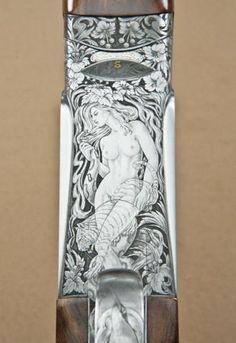 Perazzi SCO-Extra model over/under shotgun high art engraved, signed Galeazzi on triggerplat Rifles, 410 Shotgun, Neck Bones, Arm Art, Hunting Guns, Custom Guns, Metal Engraving, Carving Designs, High Art