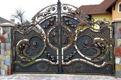 48 Steel Gate Design Idea is Perfect for Your Home - decortip Front Gate Design, Steel Gate Design, House Gate Design, Main Gate Design, Door Gate Design, Metal Gates, Wrought Iron Gates, Front Gates, Entrance Gates