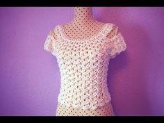 Crochet blouse for women MAJOVEL CROCHET. So done this blouse for women very easy and quick to do. Débardeurs Au Crochet, Crochet Turtle, Crochet Woman, Crochet Bodycon Dresses, Black Crochet Dress, Crochet Blouse, Blouse Tutorial, Beautiful Blouses, Crochet Videos