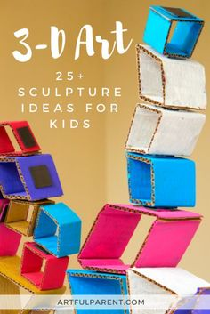 Kids love to work up, work big, and work in 3-D! Here are over 25 sculpture ideas for kids that use everything from toothpicks, cardboard & wood blocks. #artsandcrafts #sculptures #kidsart #kidsactivities #creativehome