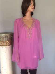 Tunic Plus Size 2X Women Beaded Pink Seperates By Nyc Design Co. Hip Chic  Style #SeparatesbyNewYorkCityDesignCo #Tunic #PartyCasual