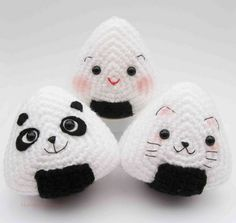 Japanese Onigiri Dolls Kitty Panda with special fillings heart salmon umeboshi Crochet Pattern