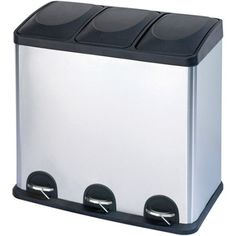 3 Compartment Stainless Steel Trash And Recycling Bin, Silver Metallic