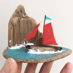 3D Driftwood art with sailboat