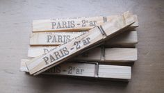 french market paris clothes pins lot of 5 by OkioBDesigns on Etsy, $4.00