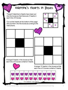 Valentine's Day Math Puzzles FREEBIE by Games 4 Learning contains 2 printable Valentine's Math Puzzles