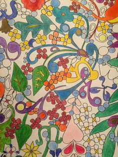 Prismacolors verithins. Adult coloring. The super awesome coloring book by Mark Cesarik and edited by Jenean Morrison. Flower and leaves nature coloring page. Love grown up coloring.