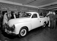 The release of the new Holden Utility (ute) at Stack & Co. car showroom in Sydney. Max Dupain photo, v Pickup Car, Old Pickup, Vintage Pickup Trucks, Vintage Cars, Classic Trucks, Classic Cars, Holden Australia, Big Girl Toys, Sydney