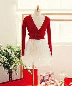 Christmas Princess Red Bow Cardigan - MOCONANA