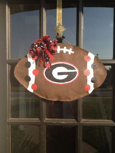 Georgia Bulldog Football Burlap Door Hanger (an idea for my son's school instead of college)