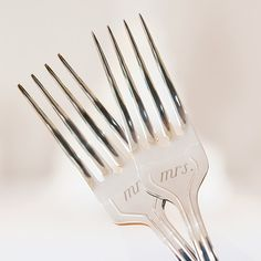Celebrate your wedding cake ceremony in style with this dynamic Mr And Mrs Cake Fork Set with these forks imprinted with Mr. and Mrs. This will make a lovely keepsake family heirloom you and your love                                                                                                                                                     More