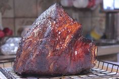 Rum Injected Double Smoked Ham - Smoking Meat Newsletter--also-Smoked Coffee Brined Ribs- Smoked Shrimp-Smoked Chicken Wings-Spiral-cut Smoked Hotdogs And More ham recipes Smoked Ham Recipe, Smoked Meat Recipes, Ham Recipes, Grilling Recipes, Traeger Recipes, Oven Recipes, Rum Ham Recipe, Venison Recipes, Sausage Recipes