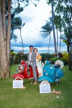 When our Groom told us that he loved Vintage Vespas we just had to oblige and he was over the moon. #wedding #vespa #samui