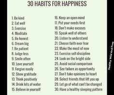 30 Habits For Happiness.